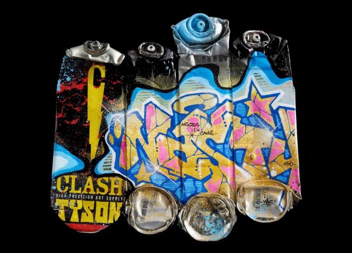 1 NASTY. Crashed spraycans, 43 x 43 cm. Acrílico y spray sobre sprays planchados, 2015