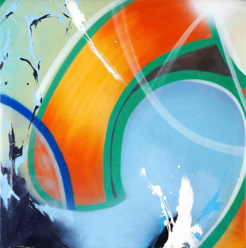 13 JOHN MATOS - CRASH. Sin título, 71 X 71 cm. Acrílico y spray sobre lienzo, 2000