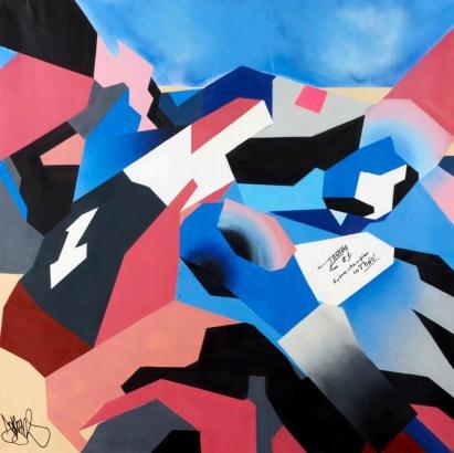 16 DEBENS. Cédric Tangre, 150 X 150 cm. Spray sobre lienzo, 2016