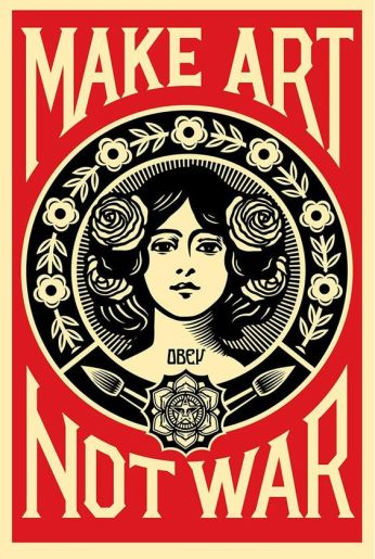 3 SHEPARD FAIREY - OBEY. Make art not war, 91 x 61 cm. Serigrafía sobre papel, 2016