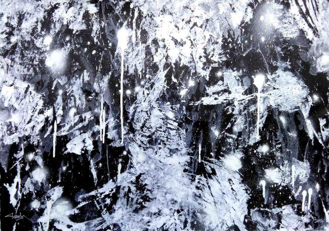 8 FASIM. Frictions nº 32P ( Paisaje ), 50 x 70 cm. Acrílico y spray sobre papel, 2017
